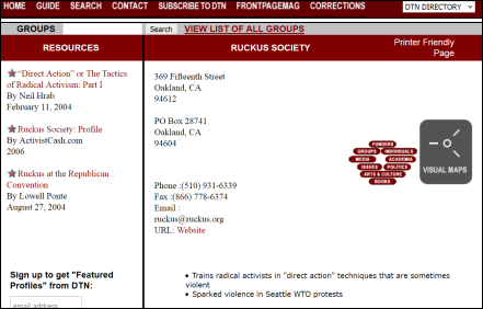 Discover the Networks Ruckus Society
